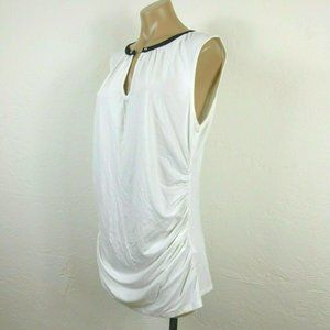 New York & Co Top XL White Ruched Keyhole Neck